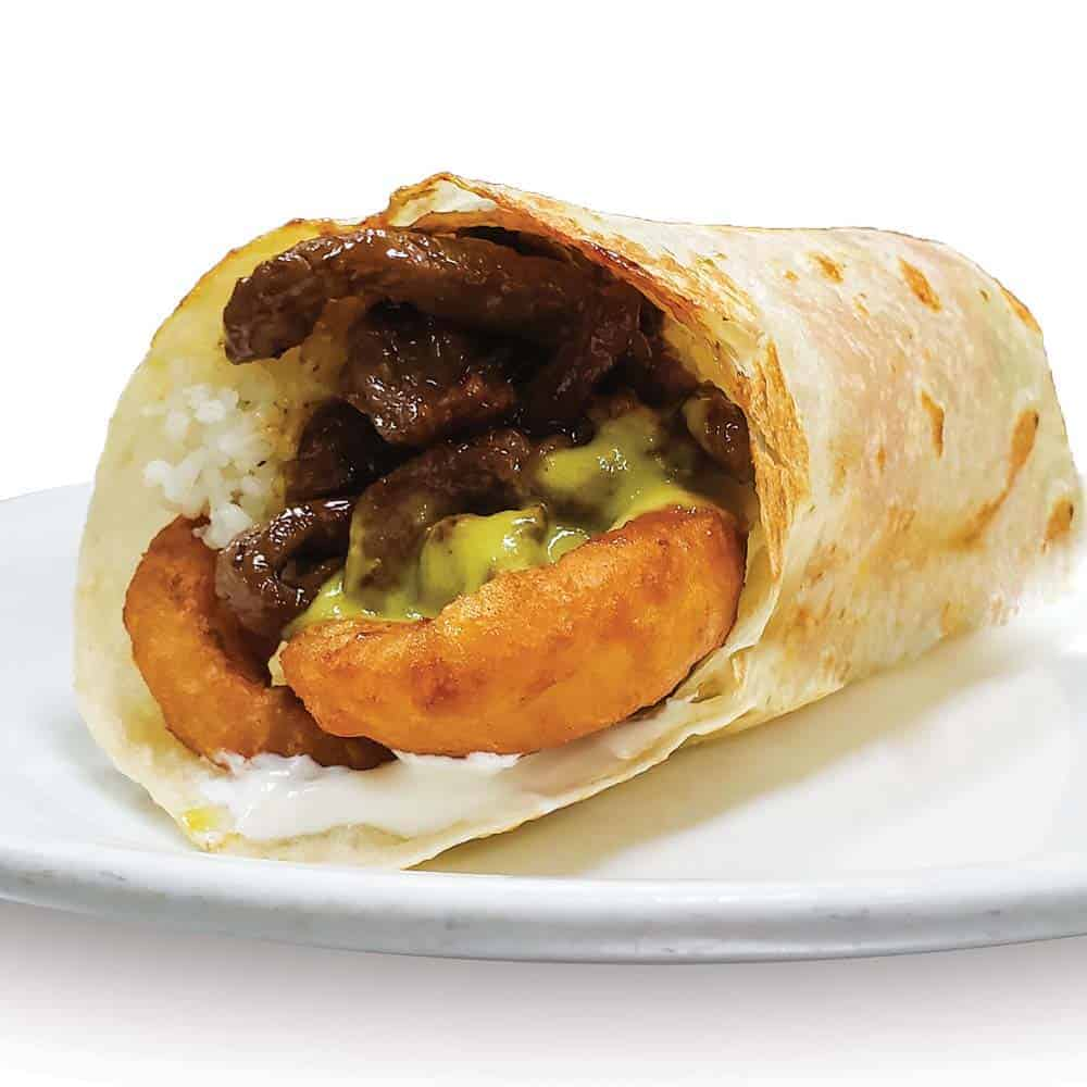 Hawaiian Onion Ring Burrito